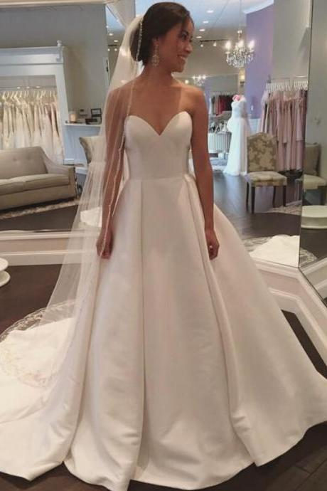 Satin Wedding Dresses,Simple Wedding Dresses,Sweetheart Wedding Dresses
