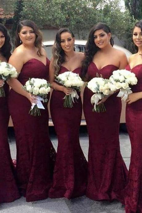 2018 New Sexy Elegant Burgundy Sweetheart Lace Mermaid Cheap Long Bridesmaid Dresses Wine Maid of Honor Wedding Guest Dress Prom Party Gowns