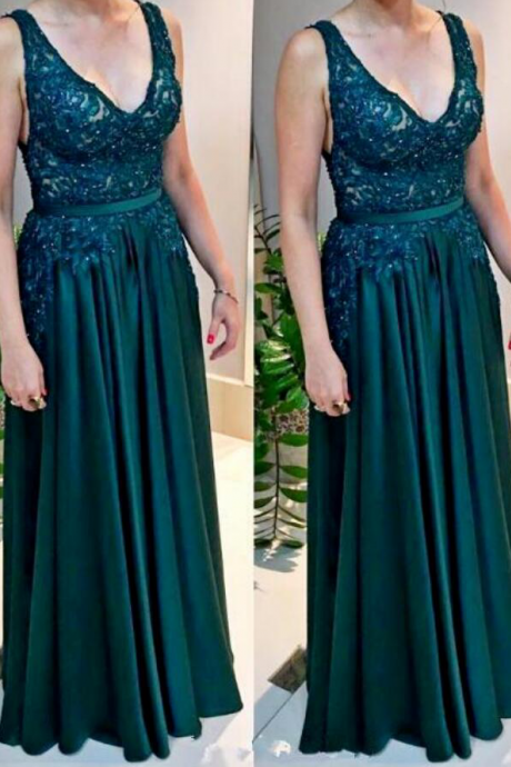 Cheap Hunter Green Long Prom Dresses V Neck Lace Chiffon Boho Arabic Evening Gown Plus Size Mother's Formal Wear vestidos
