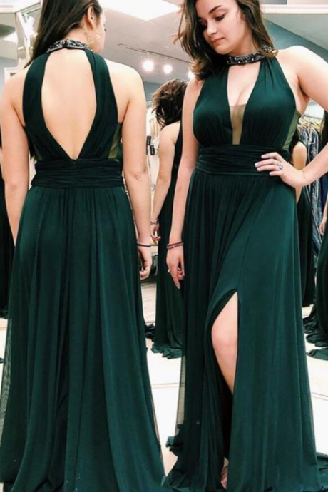 Dark Green Halter Neck Open Back Long Prom Dress With Side Slit