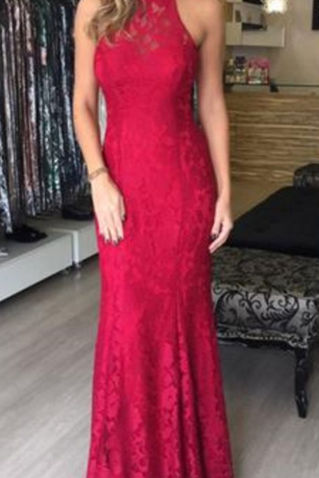 Sheath Burgundy Lace Prom Dress