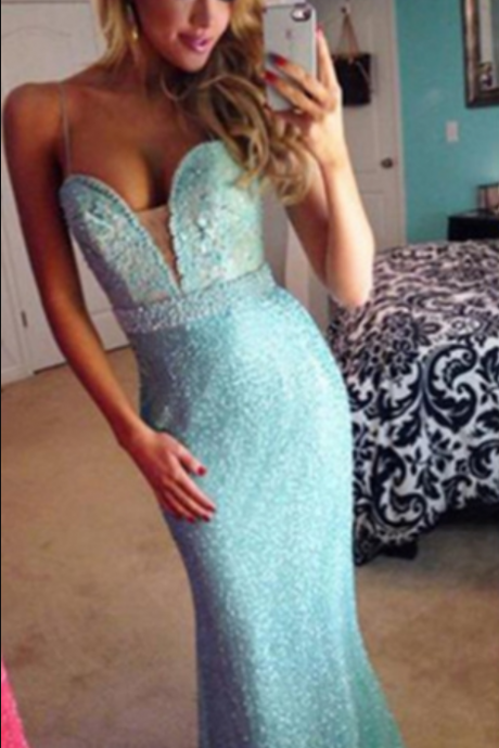 Blue Trumpet/Mermaid Spaghetti Straps Floor-Length Prom Dresses