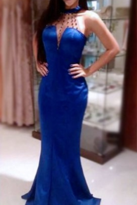Blue Beading Halter Mermaid Stretch Satin Prom Dresses