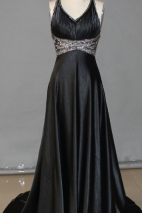 Black A-Line V-Neck Sleeveless Natural Prom Sweep/Brush Train Prom Dresses