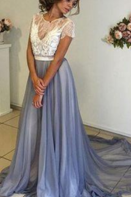 Charming Prom Dress,Chiffon Prom Dress,Short Sleeves Prom Dress,Backless Evening Dress,Long Evening Dress,Formal Gown