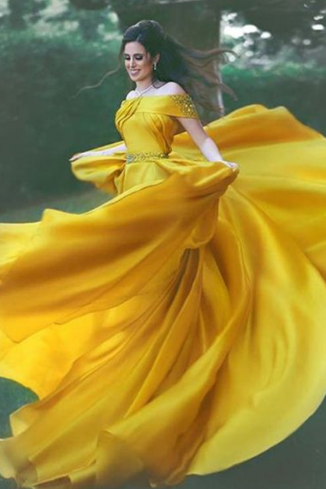 Stylish A-Line Off-Shoulder Evening Dresses,Yellow Chiffon Evening Dress with Beads,Prom Dresses, Floor-length Evening Dresses,Side Slit Prom Dresses