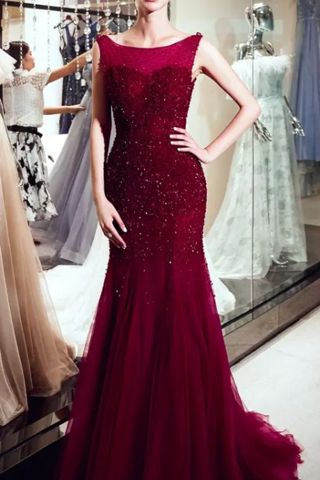 Luxury Burgundy Tulle Mermaid Long Evening Dresses Scoop Neck Real Image Major Beaded Stones Formal Party Prom Dresses