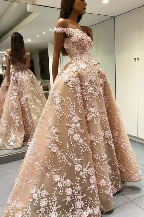 Gorgeous custom made unique off shoulder lace long prom dress, champagne evening dress