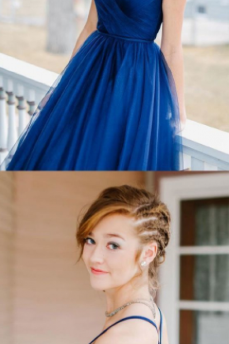 Beautiful charming sexy backless blue sweetheart tulle long prom dress, blue evening dress