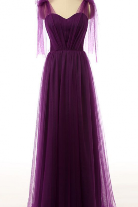 Beautiful Sweetheart Tulle Straps Floor Length Prom Dress, Elegant Charming Party Dress