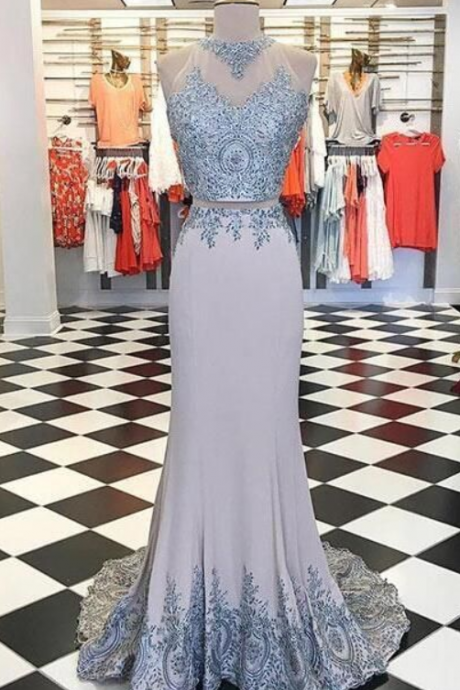 Custom Made Unique Prom Dress, Gray Lace Satin Prom Dress, Sleeveless Long Prom Dress With Appliques