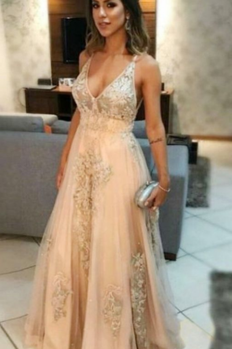 Gorgeous A-Line V-Neck Floor-Length Light Champagne Prom Dress with Appliques