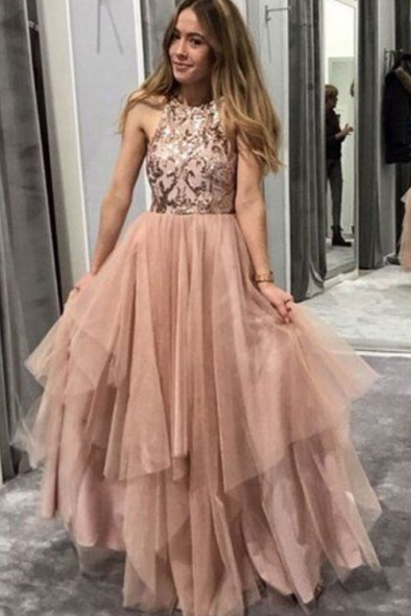 Gorgeous champagne round neck tulle prom dress with sequin, chic evening dress