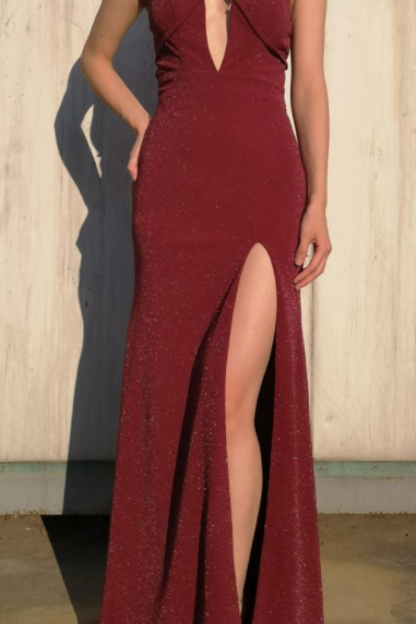 Beautiful Sexy Mermaid Square Neck Cut-out Burgundy Long Prom Dress with Split