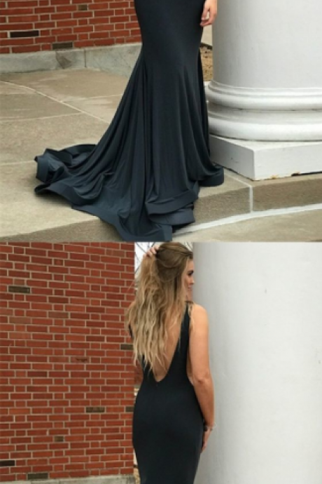 Charming Simple Mermaid Deep V-Neck Backless Sweep Train Black Prom Dress