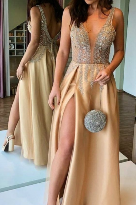 Gorgeous Sexy A-Line V-neck Backless Long Champagne Prom Evening Dress with Beading Split