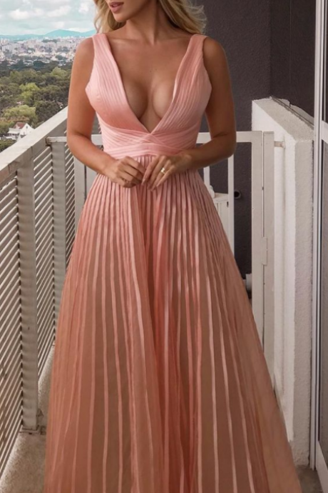 Charming Sexy A-Line V-neck Floor-Length Pink Pleated Chiffon Prom Dress