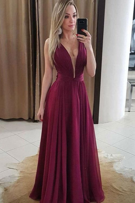 Mesh Plunging Neck Floor Length Chiffon Prom Dress