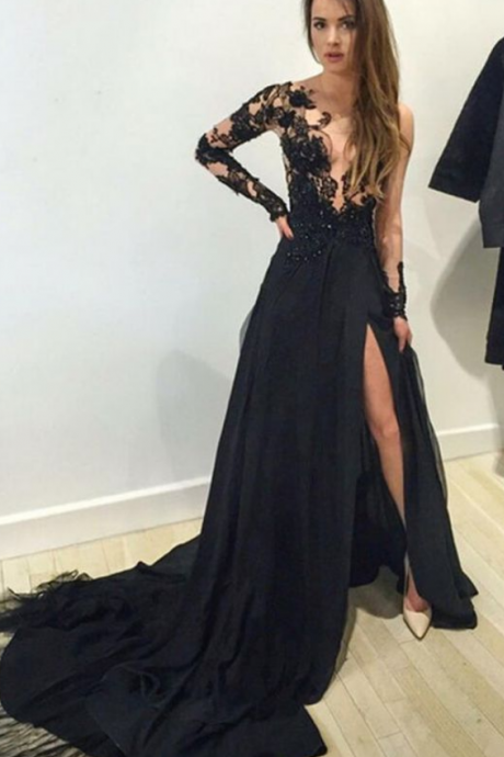 Black Evening Dress,Lace Evening Dresses ,Deep V neck Evening Dresses, Split Evening Dresses , Women Long Evening Dresses , Formal Long Dress , Custom Evening Dresses