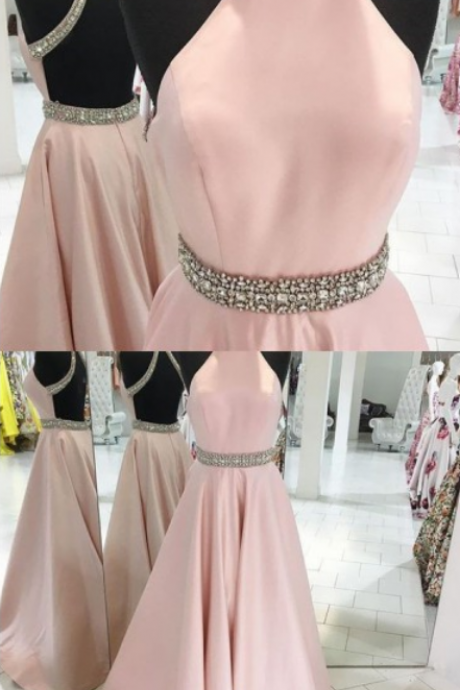 Pink Evening Dresses, Long Evening Dresses, Sleeveless Evening Dresses, Rhinestone Evening Dresses, Floor-length Evening Dresses ,Sexy Formal Evening Dress,Custom Made,2018 New Fashion