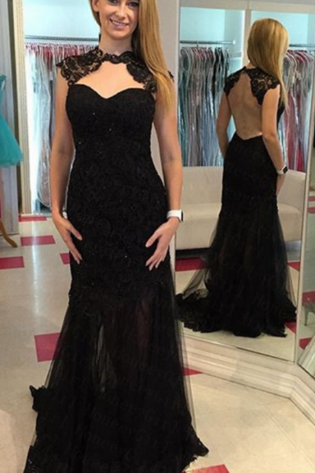 Backless Evening Dress,Black Evening Dress,Lace Evening Dress,Sexy Evening Dresses,Sheath Evening Dresses