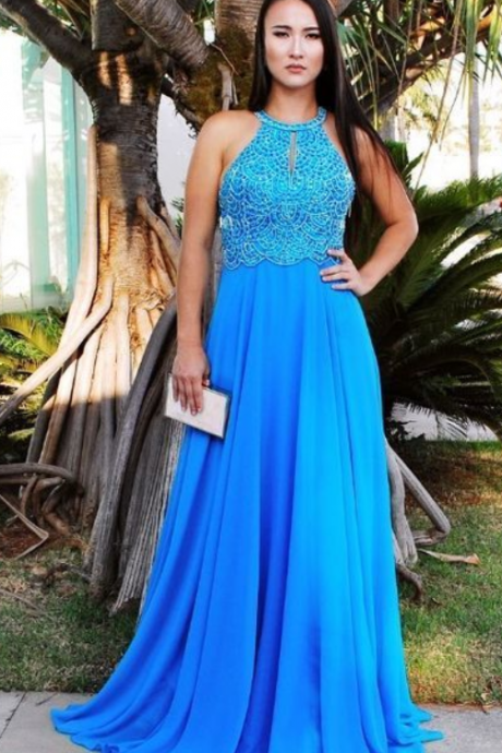 Halter Blue Prom Dress,Fancy Evening Dress,Prom Dresses