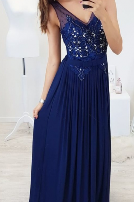 Charming V neck Navy Blue Crystal Beading Evening Dress, Long Prom Dresses with Appliques