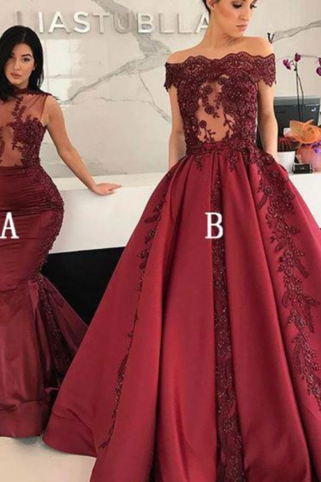 Burgundy Elegant Sexy Long Affordable Applique Prom Dresses,P2108