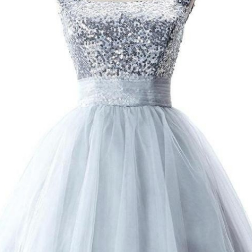 Cute Short Girly Silver Homecoming Dresses With Straps