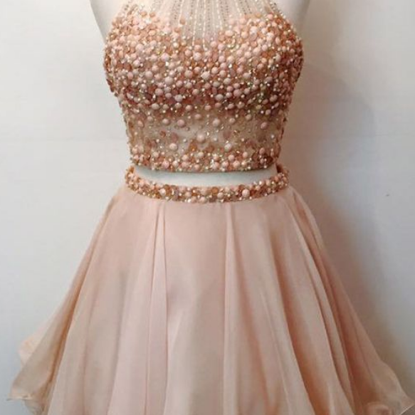 Two Pieces Homecoming Dresses Pearl Pink Rhinestones Chiffon Graduation Dress