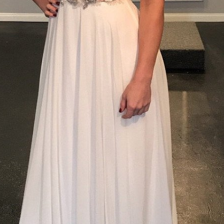 unique chiffon off shoulder beaded charming long prom dress,