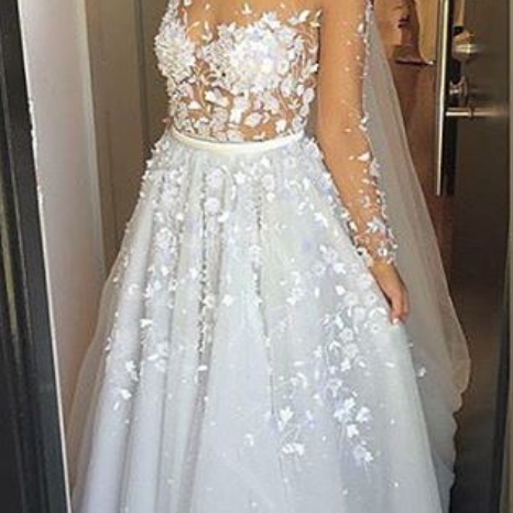 Wedding Dresses,Sexy Appliques Lace Wedding Dress, Long Sleeve Wedding Dresses,Long Charming Evening Dress,tulle bridal dresses