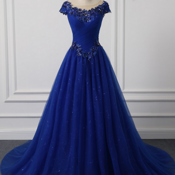 Royal blue A Line Prom Dresses floor Length Luxury Evening Dresses Stage performance dress Real Pic