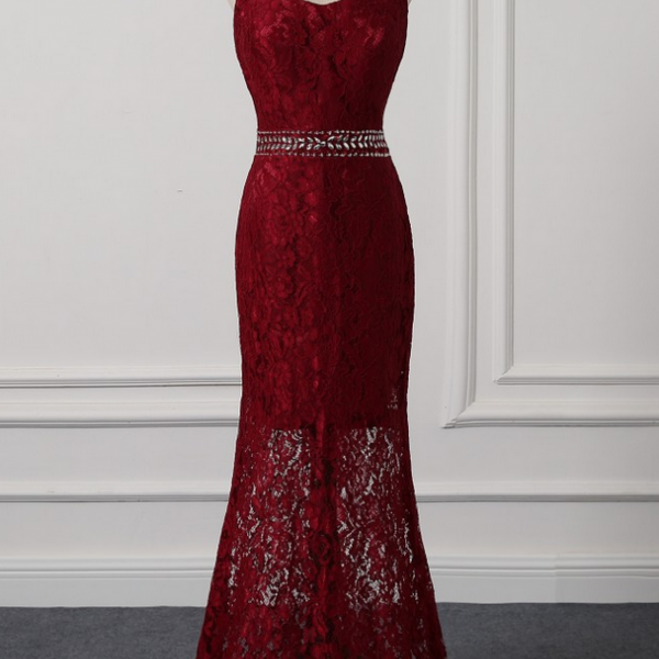 Mermaid Burgundy Lace Evening Dresses Halter elegant Prom Dresses Real Photo