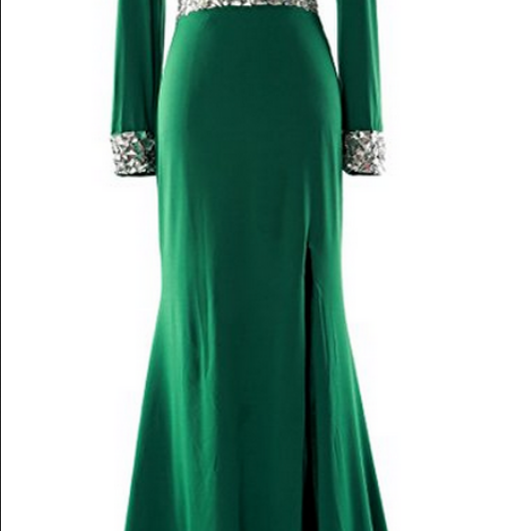 Long Sleeve Prom Dress,Mother of the Bride Dress V Neck Formal Evening Gown