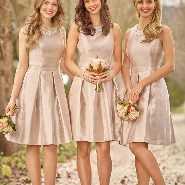 Champagne Fit-and-flare Short Bridesmaid Dress with Pearl Neckline