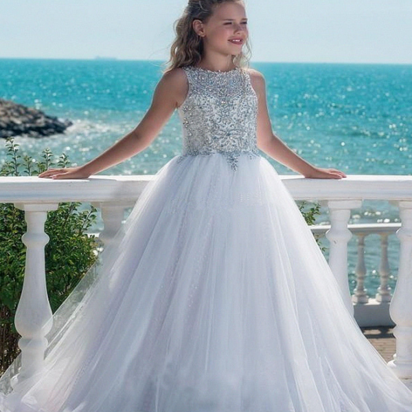 Formal Beading Fashion Flower Girl Dresses .Flower Girl Dresses.Flower Gril Dresses,Satin Flower Girl Dresses,