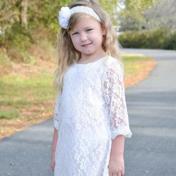 Vintage Flower Girl Dresses,Wedding Party Gowns,Maxi Girl Flower Dresses,Kids Prom Dresses,First Communion Dresses for Girls,Lace Appliques Flower Girl Bridesmaid Gowns,Beach,