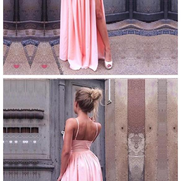 Spaghetti Straps Prom Dress with Slit Formal Dress