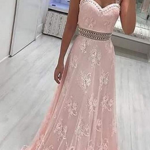 A-Line Scoop, Sweep Train ,Pink Lace Prom Dress with Beading Appliques,Sleeveless Evening Dress