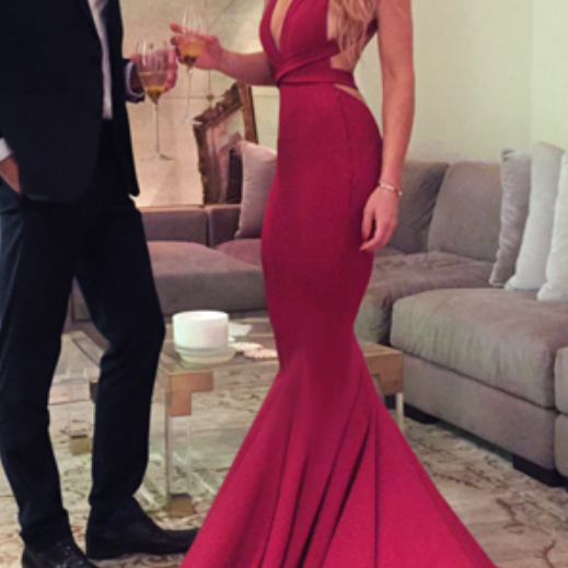 Sexy Red Prom Evening Dress, Sexy Red Mermaid Long Prom Dress, Formal Evening Dress with Criss Cross Back, Woman Evening Dress